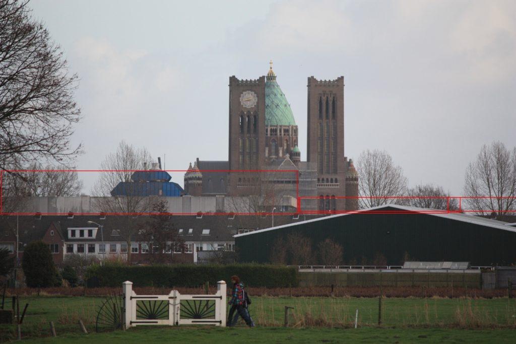 Bewerkte foto vanaf Elswoutslaan tennispark Duinvliet naar Nieuwe Bavo